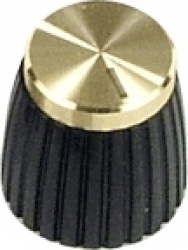Marshall knob shaft with set-screw, gold cap