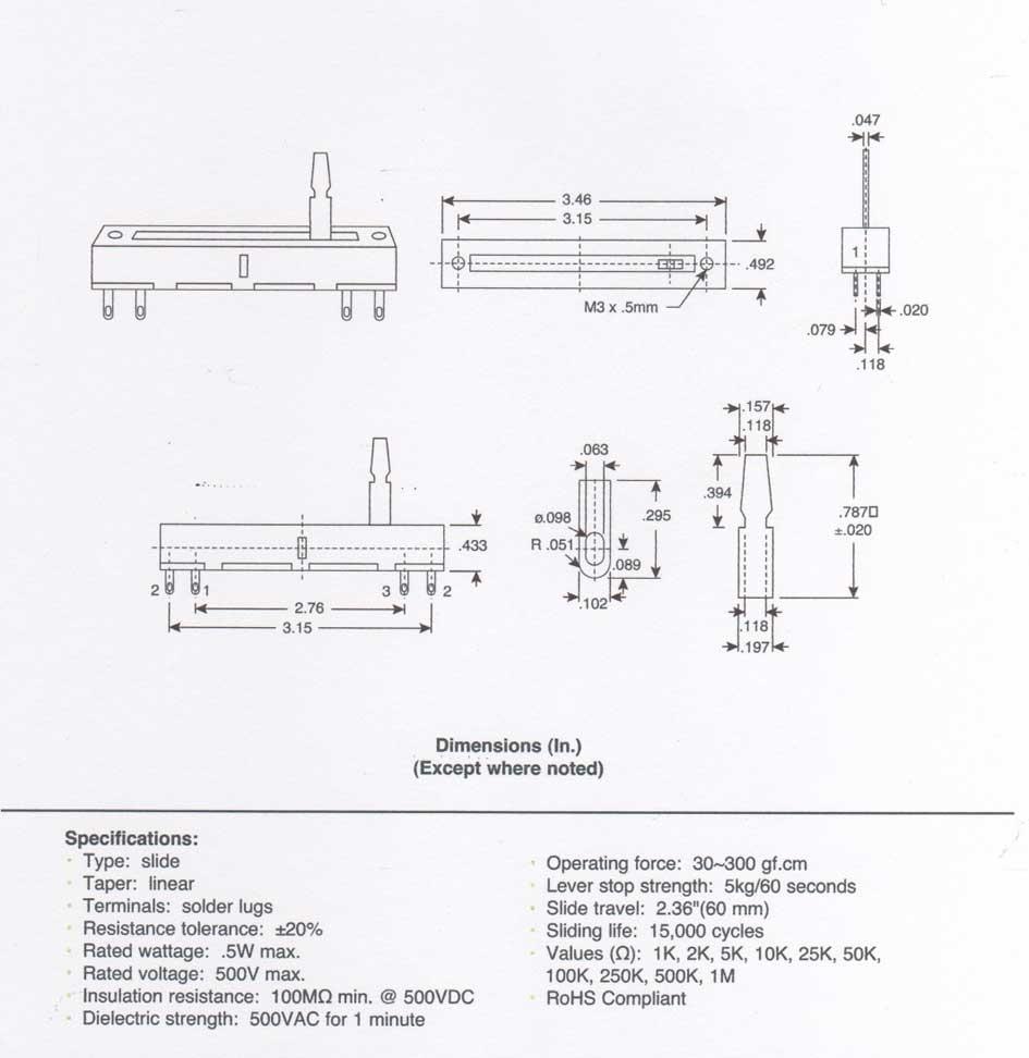 10k linear slide potentiometer wiring 250k linear potentiometer elsavadorla