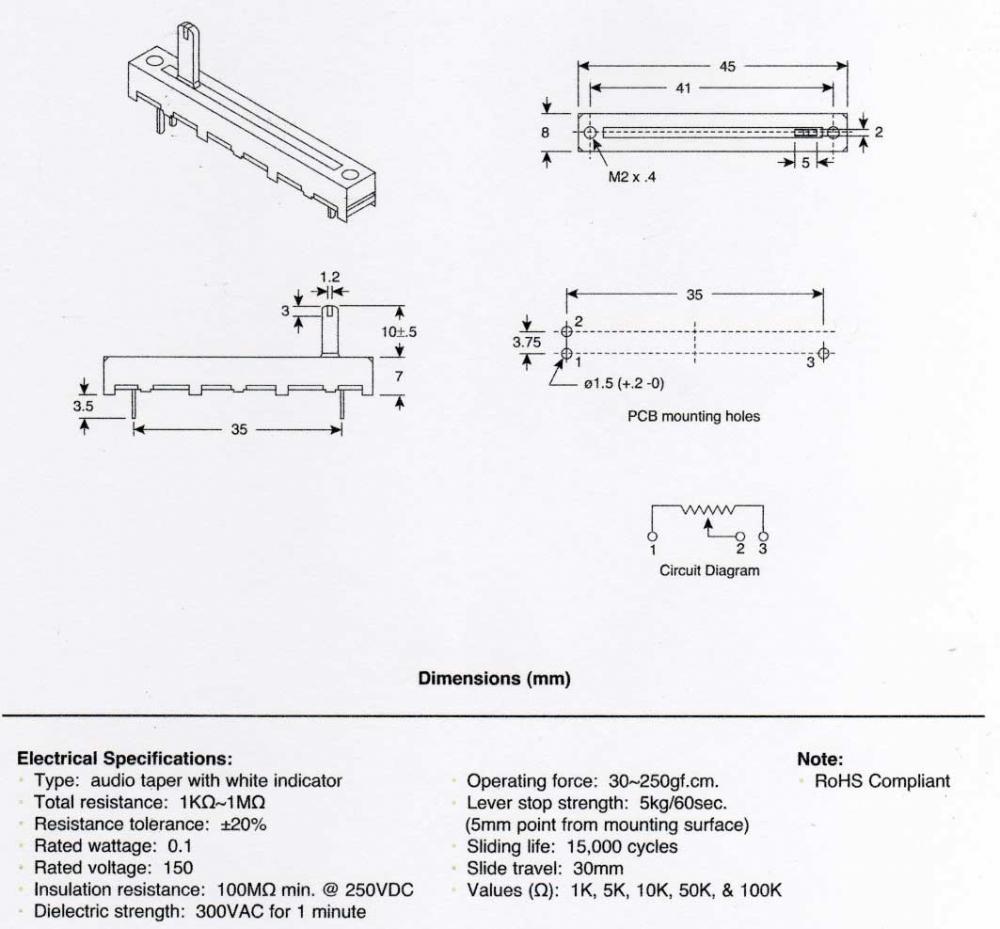 Alpha Slide Potentiometer 30mm Linear 5k Musical Accessories