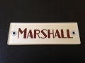Marshall block logo plaque silver/red, plexi