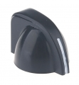 chicken head style pointer knob mini, black, push on