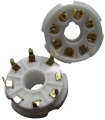 8-pin tube socket, ceramic, pc-mount, gold plated