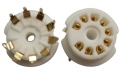 9-pin ceramic tube socket, pc mount, gold plated